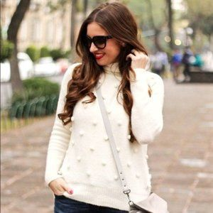 Madewell Merino Wool Pom Pom Snowball Sweater - M